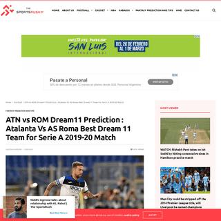 ArchiveBay.com - thesportsrush.com/atn-vs-rom-dream11-prediction-atalanta-vs-as-roma-best-dream-11-team-for-serie-a-2019-20-match/ - ATN vs ROM Dream11 Prediction - Atalanta Vs AS Roma Best Dream 11 Team for Serie A 2019-20 Match - The SportsRush