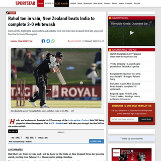 ArchiveBay.com - sportstar.thehindu.com/cricket/india-new-zealand-3rd-odi-live-cricket-score-kane-williamson-virat-kohli-kl-rahul-rishabh-pant/article30785648.ece - Rahul ton in vain, New Zealand beats India to complete 3-0 whitewash - Sportstar