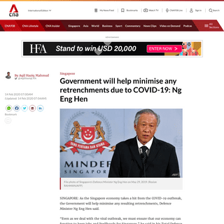 Government will help minimise any retrenchments due to COVID-19- Ng Eng Hen - CNA