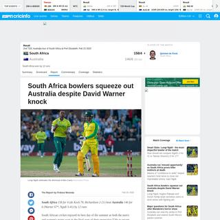 Recent Match Report - South Africa vs Australia 2nd T20I 2020 - ESPNcricinfo.com