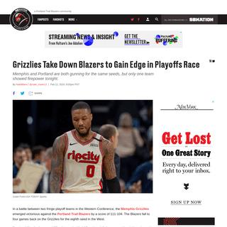 Grizzlies Take Down Blazers to Gain Edge in Playoffs Race - Blazer's Edge