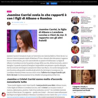 ArchiveBay.com - www.gossipetv.com/jasmine-carrisi-rapporto-figli-albano-e-romina-463299 - Jasmine Carrisi svela in che rapporti è con i figli di Albano e Romina