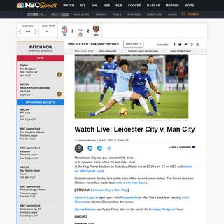 Watch Live- Leicester City v. Man City (lineups, stream link)