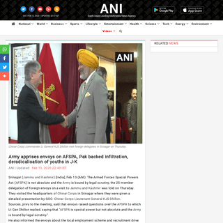 ArchiveBay.com - www.aninews.in/news/national/general-news/army-apprises-envoys-on-afspa-pak-backed-infiltration-deradicalisation-of-youths-in-j-k20200213214459/ - Army apprises envoys on AFSPA, Pak backed infiltration, deradicalisation of youths in J-K