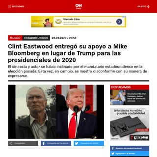 Clint Eastwood entregó su apoyo a Mike Bloomberg en lugar de Trump para las presidenciales de 2020