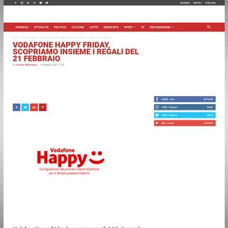 Vodafone Happy Friday, scopriamo insieme i regali del 21 febbraio ⋆ ZON