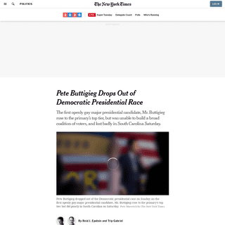 Pete Buttigieg Drops Out of Democratic Presidential Race - The New York Times