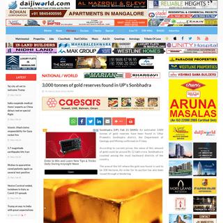 ArchiveBay.com - www.daijiworld.com/news/newsDisplay.aspx?newsID=676941 - 3,000 tonnes of gold reserves found in UP's Sonbhadra - Daijiworld.com
