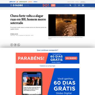 Chuva forte volta a alagar ruas em BH; homem morre soterrado - Jornal O Globo