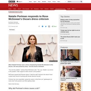 Natalie Portman responds to Rose McGowan's Oscars dress criticism - BBC News
