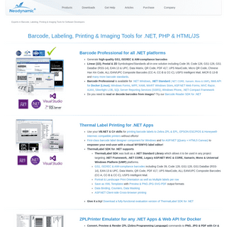Barcode, Labeling, Printing & Imaging components for .NET, PHP & Javascript by Neodynamic