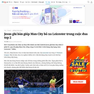 Jesus ghi bàn giúp Man City bỏ xa Leicester trong cuộc đua top 2 - Bóng đá Anh - ZING.VN