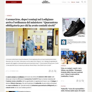 Coronavirus, dopo i contagi nel Lodigiano arriva l'ordinanza del ministero- -Quarantena obbligatoria per chi ha avuto contatti s