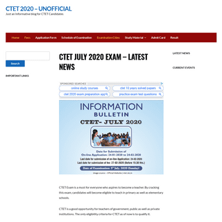 CTET July 2020 Exam - Latest News - CTET 2020 - Unofficial