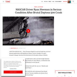 NASCAR's Ryan Newman Hospitalized After Daytona 500 Crash - Time