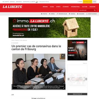 ArchiveBay.com - www.laliberte.ch/info-regionale/sante/un-premier-cas-de-coronavirus-dans-le-canton-de-fribourg-555844 - Un premier cas de coronavirus dans le canton de Fribourg - La Liberté