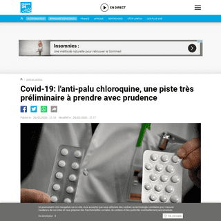 Covid-19- l'anti-palu chloroquine, une piste très préliminaire à prendre avec prudence - France 24