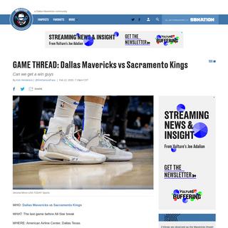 GAME THREAD- Dallas Mavericks vs Sacramento Kings - Mavs Moneyball