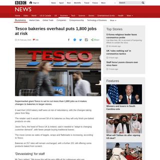 Tesco bakeries overhaul puts 1,800 jobs at risk - BBC News