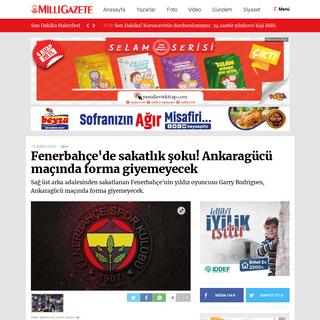 ArchiveBay.com - www.milligazete.com.tr/haber/3650071/fenerbahcede-sakatlik-soku-ankaragucu-macinda-forma-giyemeyecek - Fenerbahçe'de sakatlık şoku! Ankaragücü maçında forma giyemeyecek -Spor Haberleri