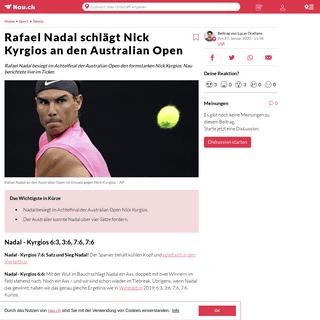 Rafael Nadal schlägt Nick Kyrgios an den Australian Open