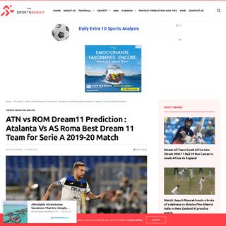 ATN vs ROM Dream11 Prediction - Atalanta Vs AS Roma Best Dream 11 Team for Serie A 2019-20 Match - The SportsRush