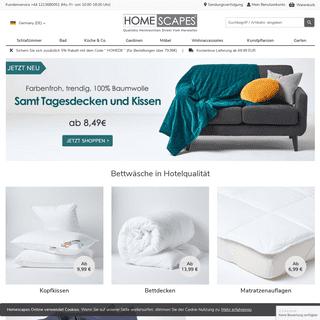 Homescapes – Bettwaren, Heimtextilien, Dekoartikel