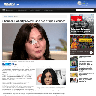 ArchiveBay.com - www.kgns.tv/content/news/Shannen-Doherty-reveals-she-has-stage-4-cancer-567553081.html - Shannen Doherty reveals she has stage 4 cancer