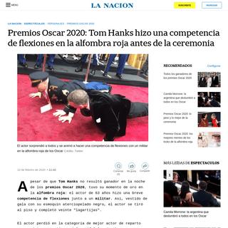 Premios Oscar 2020- Tom Hanks hizo una competencia de flexiones en la alfombra roja antes de la ceremonia - LA NACION
