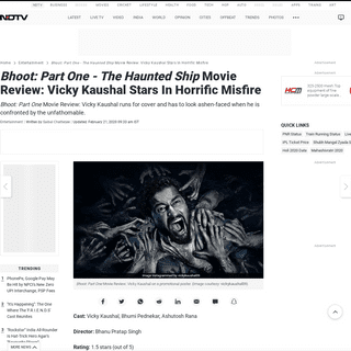 Bhoot- Part One - The Haunted Ship Movie Review- Vicky Kaushal Stars In Horrific Misfire - 1.5 Stars (Out Of 5)
