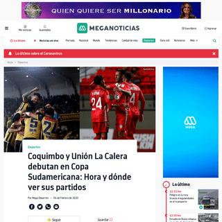 Coquimbo y Unión La Calera debutan en Copa Sudamericana- Hora y dónde ver sus partidos - Meganoticias