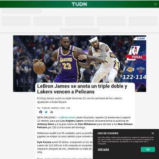 LeBron James se anota un triple doble y Lakers vencen a Pelicans - NBA - TUDN