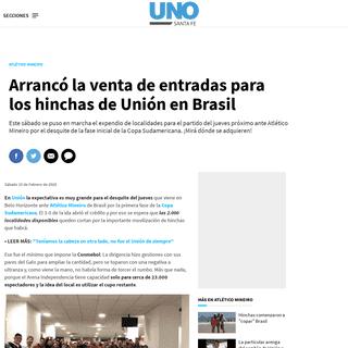 Arrancó la venta de entradas para los hinchas de Unión en Brasil - Atlético Mineiro, Copa Sudamericana, Unión