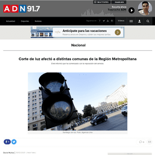 Corte de luz afectó a distintas comunas de la Región Metropolitana - Nacional - Radio ADN 91.7