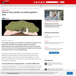 Irena Sendler im Google Doodle- Warum sie als Heldin gefeiert wird - FOCUS Online