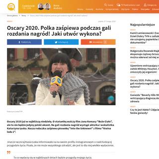 Oscary 2020. Katarzyna Łaska zaśpiewa na gali rozdania nagród - Dzień Dobry TVN