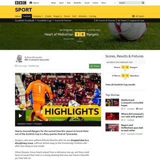 Heart of Midlothian 1-0 Rangers- Steven Gerrard's side stunned in Scottish Cup - BBC Sport