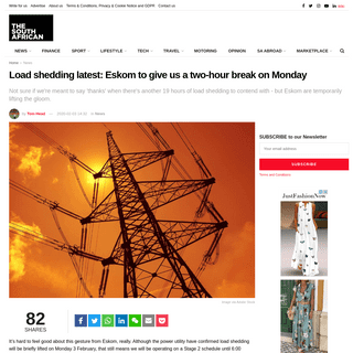 Load shedding latest- Eskom to give us a two-hour break on Monday