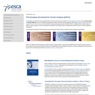The European Secretariat for Cluster Analysis (ESCA) — ESCA