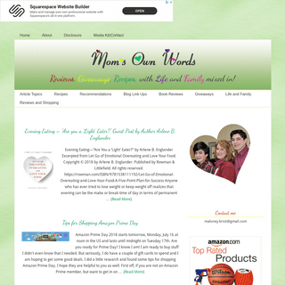 Moms Own Words - On Life in New England, Raising Boys, Recipes, Reviews, and Giveaways
