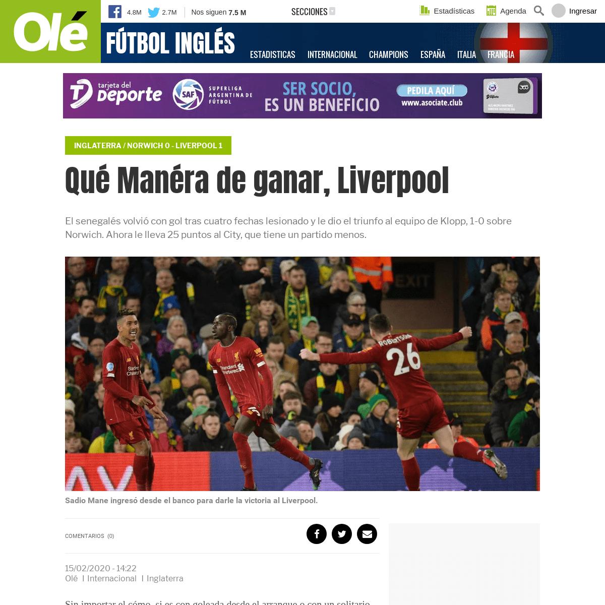 Qué Manéra de ganar, Liverpool - Olé