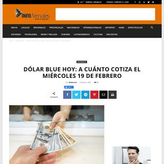 Dólar blue hoy- a cuánto cotiza el miércoles 19 de febrero - Info Arenales - General Arenales