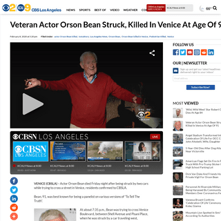 Veteran Actor Orson Bean Struck, Killed In Venice At Age Of 91 – CBS Los Angeles