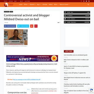 Controversial activist and blogger Mildred Owiso out on bail - KBC - Kenya's Watching