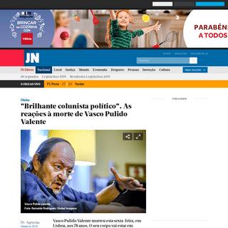 ″Brilhante colunista político″. As reações à morte de Vasco Pulido Valente - JN