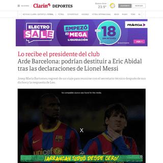 Arde Barcelona- podrían destituir a Eric Abidal tras las declaraciones de Lionel Messi - Clarín