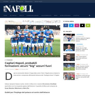 Cagliari-Napoli, probabili formazioni- alcuni -big- azzurri fuori