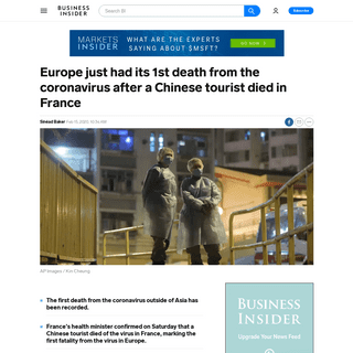 Wuhan coronavirus- 1st Europe death as Chinese tourist dies in France - Business Insider