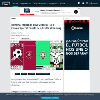 Reggina-Monopoli dove vederla- Rai o Eleven Sports- Canale tv e diretta streaming - Goal.com
