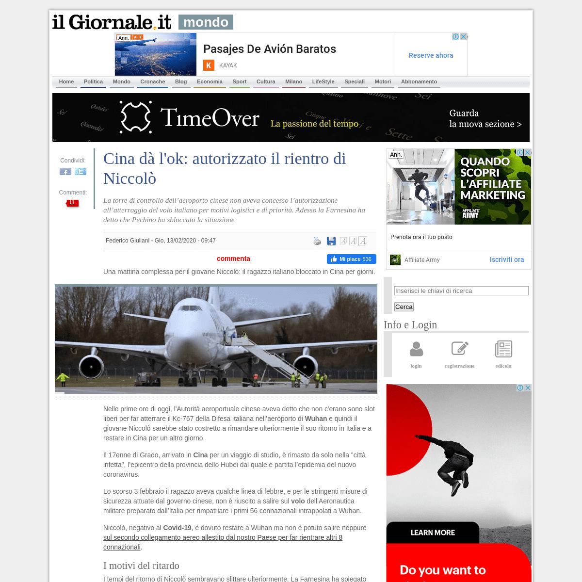 Cina dà l'ok- autorizzato il rientro di Niccolò - IlGiornale.it